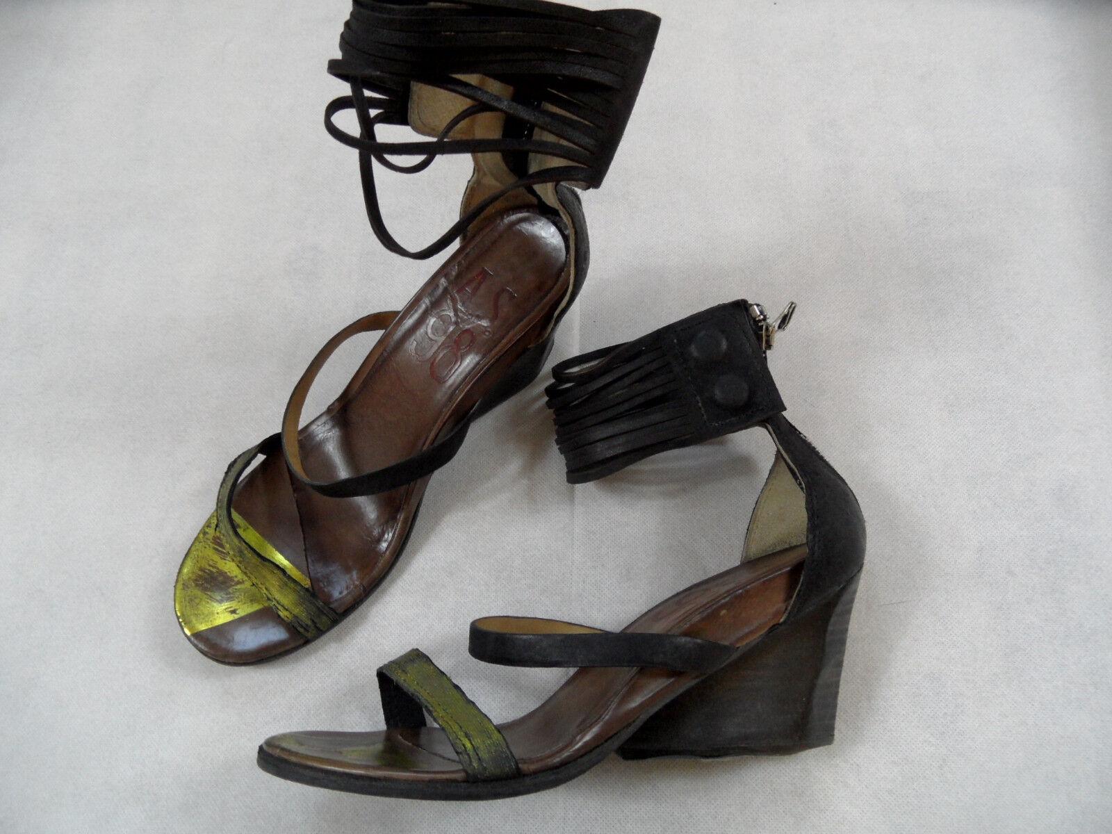 A.S. 98 eleganti sandali con Bondage con caviglia NERO ORO TG. 39 top718