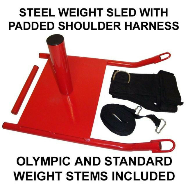1 RED Steel Weight Sled Speed with  Resistance Training Padded Shoulder Harness  free shipping!