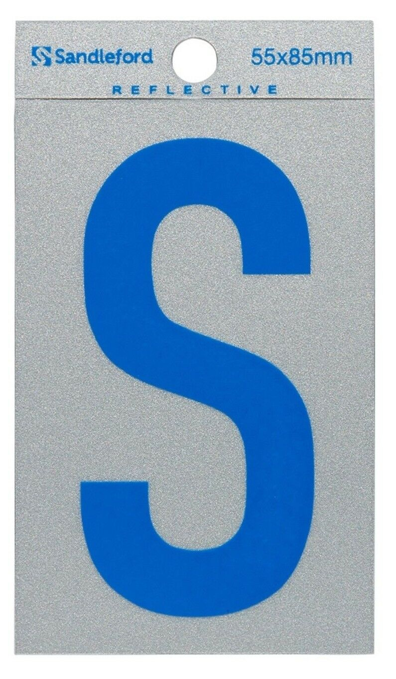 8x Sandleford SELF ADHESIVE Blau REFLECTIVE LETTER  S  85x55mm Gloss Finish
