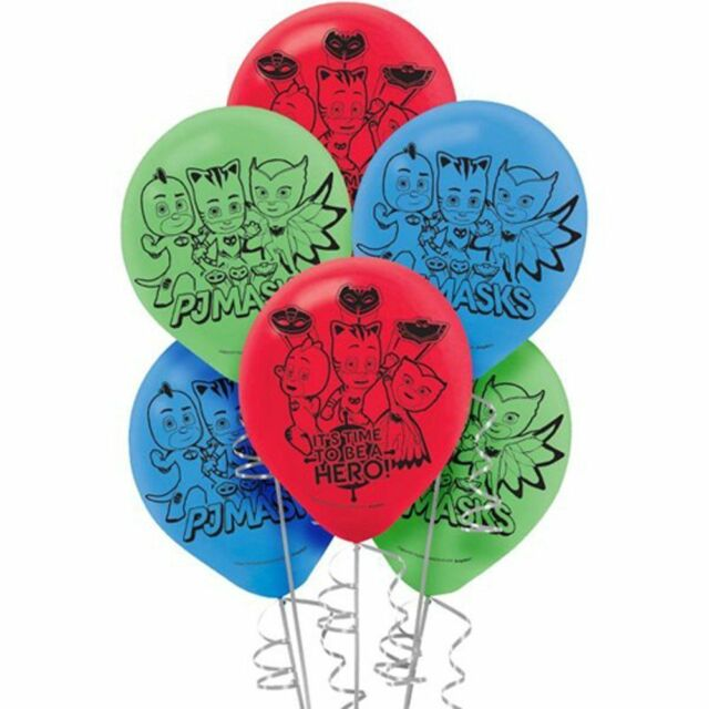 PJ MASKS BALLOONS OWLETTE CATBOY GEKKO 6 PACK BIRTHDAY PARTY LOLLY LOOT BAG