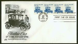 1906-17c-Electric-Car-Strip-of-4-Art-Craft-FDC-ANY-4-FREE-SHIPPING