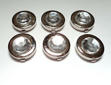 6- SILVER PLATED  17 1/2MM BUTTON COVERS WITH CRYSTAL STONE-M248