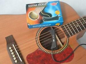 Sound Pickup Microphone Wire Amplifier Speaker for Acoustic Guitar Black