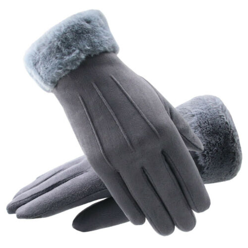 Women Winter Warm Suede-lined Gloves Outdoor Windproof Touch Screen Gloves