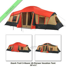 Ozark Trail Cabin Tent 10 Person 3 Room 20u0027 x 11u0027 Large Outdoor C&ing  sc 1 st  eBay & 10 Person 2 Room Cabin Tent Large Big 10 People Camping Tents ...