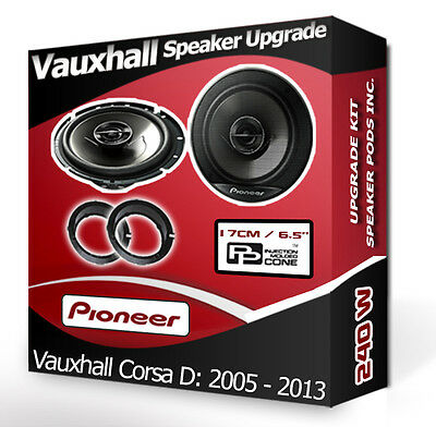Vauxhall Corsa D Front Door Speakers Pioneer car speakers + adapter pods 240W