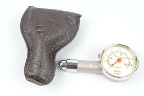 Genuine Porsche Tire Pressure Gauge with Leather Pouch 911-722-202-00