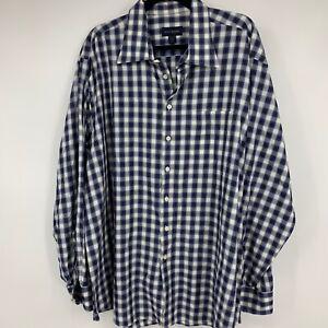 Scott-Barber-mens-shirt-XXL-button-down-long-sleeve-plaid-blue-casual-business