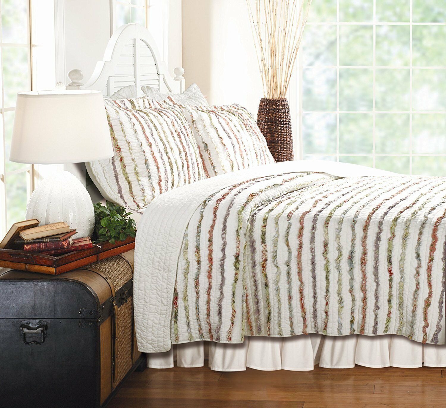 Queen Dimensione Bedding Quilt Set Bella Ruffle Bed 100% Cotton OverDimensioned Floral New