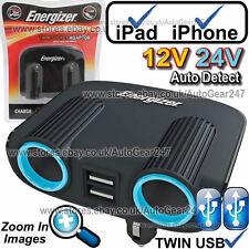 Energizer 50504 12V 24V 2 VIE DOPPIO USB AUTO ACCENDINO Multi Socket Adattatore Caricabatterie