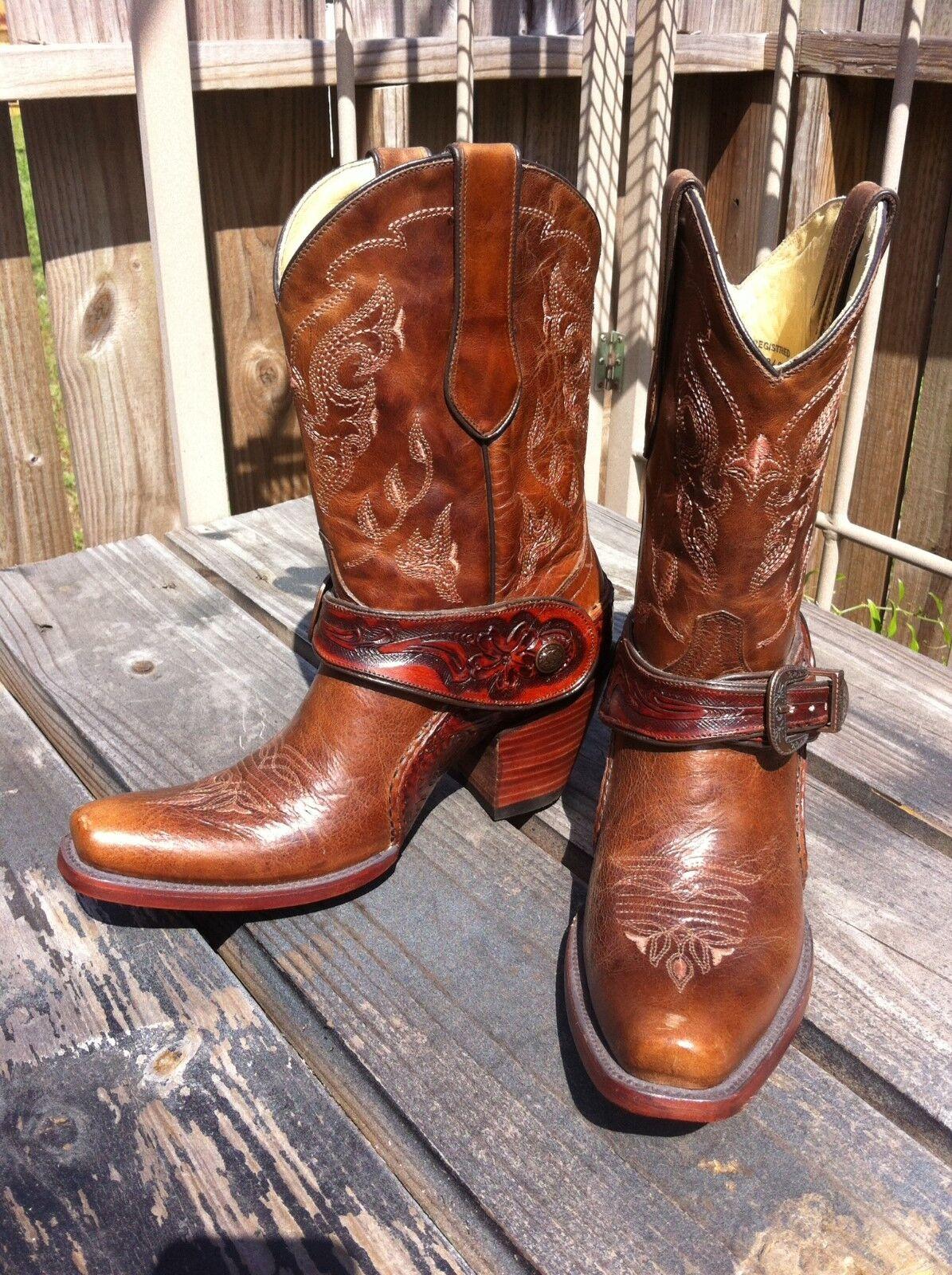 Corral botas G1907 Dorado para Señoras Saltillo Marrón Marrón Marrón Cuero Occidental Arnés fijo  popular