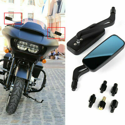 Black Retro Rearview Mirrors For Harley Dyna Sportster Touring Street Glide FLHX