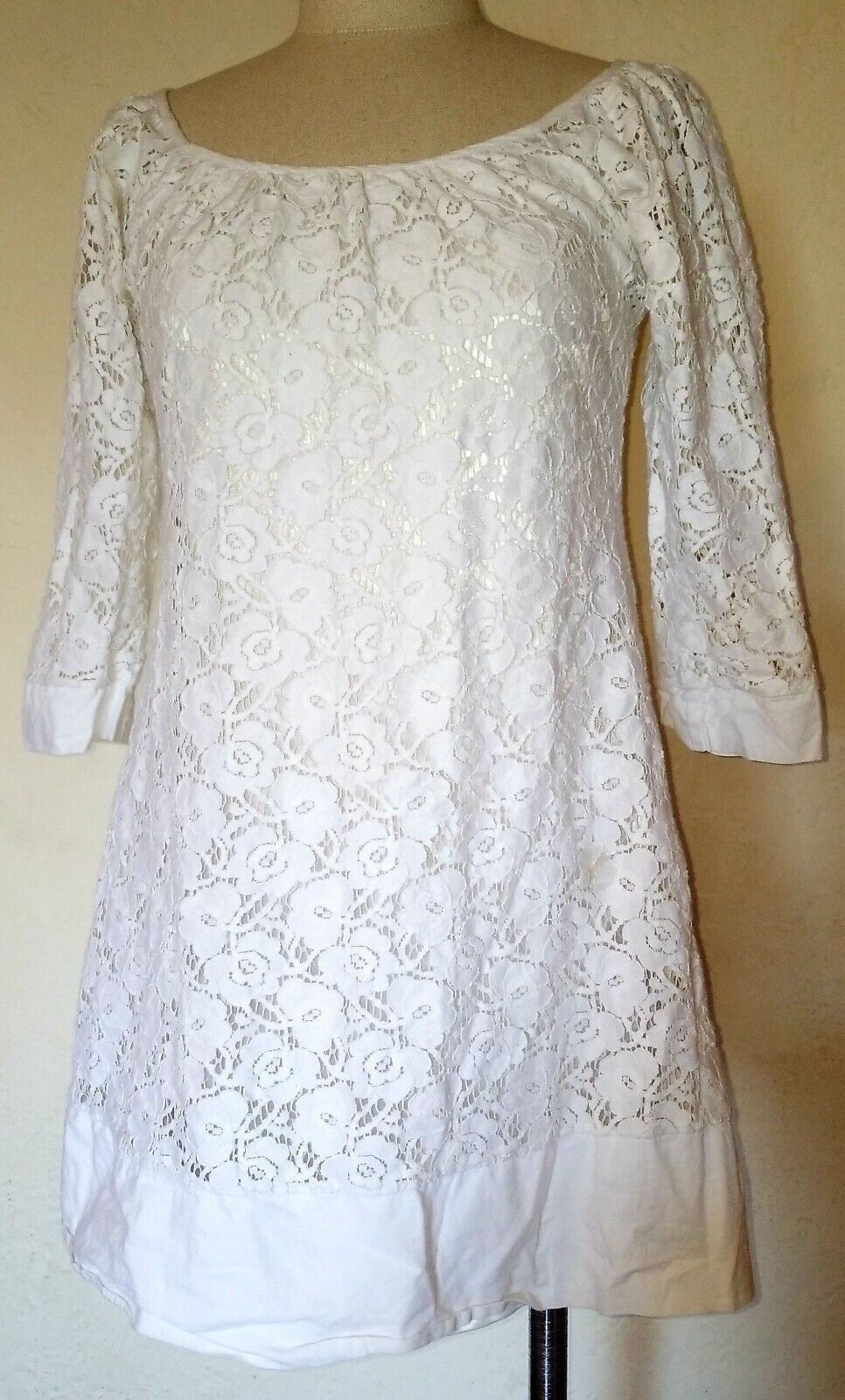 Vintage Chloe' White Floral Mini Dress Size XS