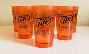 6-MILLER-LITE-Triple-Hops-Brewed-Beer-Cup-Glass-Halloween-Milwaukee-Plastic-New
