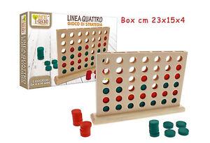 Gioco-in-Legno-Forza-4-Fai-Quattro-Linea-Quattro-Gioco-di-Strategia-da-Tavolo