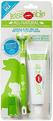 Kissable All-Natural TARTAR CONTROL Dog Toothpaste & Toothbrush Denta Combo Kit