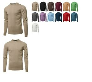 FashionOutfit-Men-039-s-Solid-Long-Sleeve-Crew-Neck-Pullover-Knit-Sweater