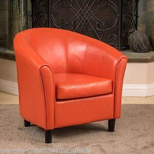 contemporary design orange leather tub   barrel club chair