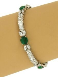 11-00-Ct-Emerald-amp-Diamond-Women-039-s-Tennis-Bracelet-Solid-14K-White-Gold-Over