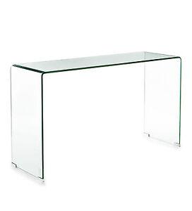 CAPODARTE consolle Carlo vetro trasparente curvo scrivania per ...