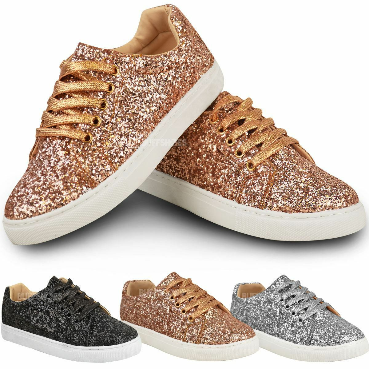 Mujer zapatos LADIES GLITTER LACE FLAT TRAINERS PUMPS SNEAKERS LACE GLITTER UP SPARKLY Talla ea3b40