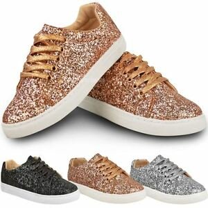 LADIES WOMENS GOLD GLITTER TRAINERS LOAFERS SNEAKERS PUMPS SHOES FLAT HEEL SIZE