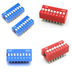 10-50PCS-Slide-Type-Switch-2-54mm-8-Bit-8-Position-Way-DIP-Red-Blue-Pitch-US