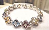 Barbara Bixby Sterling & 18k 7.30 Cttw Gemstone Flower 6-3/4 Bracelet