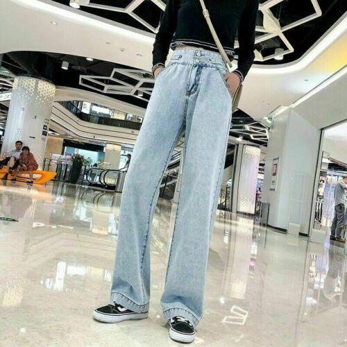 Women Retro Jeans Denim Pants Straight Wide Leg Trousers Full Length Long NR9