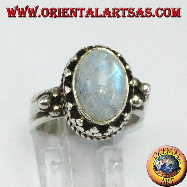 925 silver ring ‰ mit mondstein regenbogen oval an bord hoch