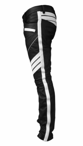 MENS BIKERS PANTS REAL BLACK LEATHER MOTORCYCLE JEANS TROUSER