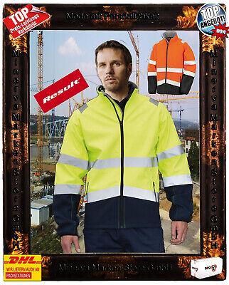 Herren Winter Sicherheitsjacke Warnschutzjacke neonfarbe Softshelljacke Gr.S-4XL