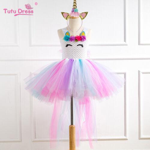 Flower Girls Unicorn Tutu Dress Princess Girls Birthday Party Fancy Dress  ZG9