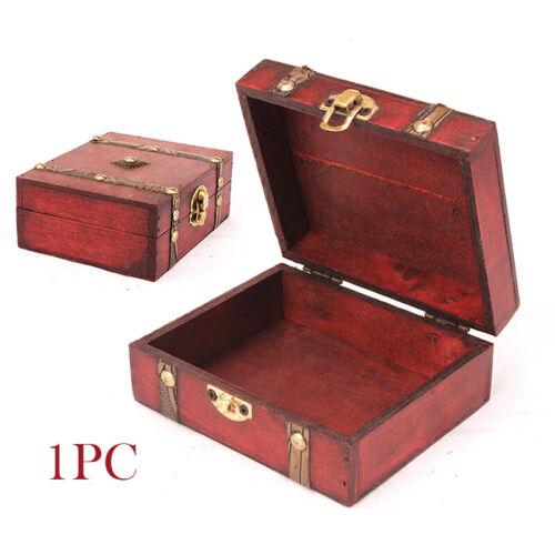Vintage Wooden Treasure Chest Wood Jewellery Storages Box Case Organiser Ring UK