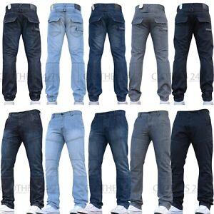 Details zu Herren Crosshatch Gerade Jeans Designer Passform Marke Hosen Neu