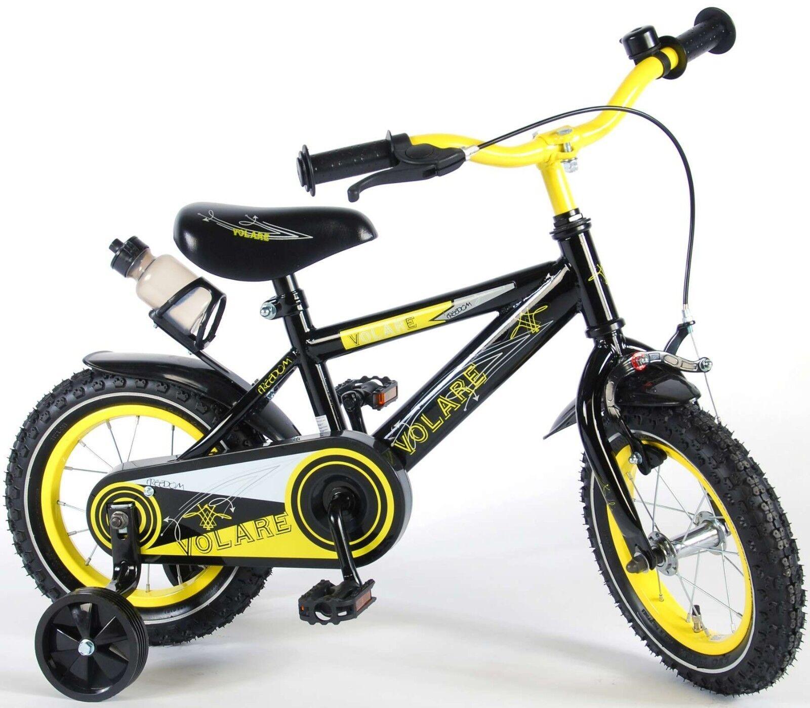 14 Zoll Fahrrad  Kinderfahrrad Jungen Kinder Stützräder Schwarz Gelb
