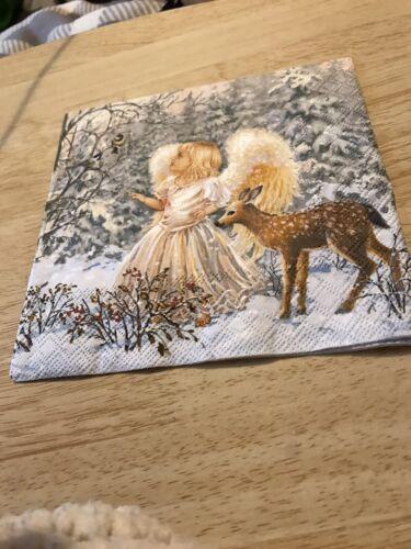 4 x singolo di carta Tovaglioli Angel e cerbiatto SCENA INVERNALE 33cm