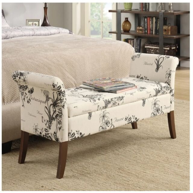 Upholstered End Of Bed Storage Bench Botanical Bedroom Furniture Tropical Seat