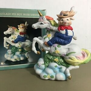 Porcelain-Pig-Boy-With-Unicorn-vtg-figurine-8-5-034-tall-overalls-rainbows-w-box