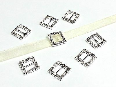 16mm Crystal Rhinestone SQUARE Ribbon Slider Buckle 4Card Making Wedding Invites
