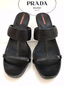 Authentic-PRADA-Leather-Open-Toe-35-5-WEDGE-Heel-SANDALS-3-034-High-Platform-Shoes