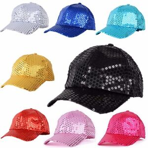 625a239811d248 Image is loading Adults-Kids-Bling-Sequin-Sparkling-Baseball-Cap-Glitter-