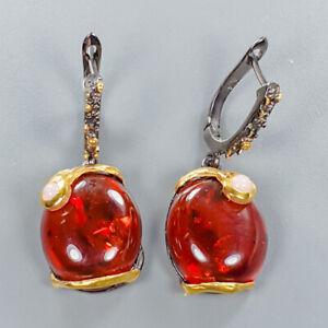Amber-Earrings-Silver-925-Sterling-Natural-Art-Gemstone-Design-E39212