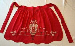 Apron-Christmas-Theme-Cotton-Red-amp-White-Embroidered-Light-56-5-034-Tie-L4-Vintage