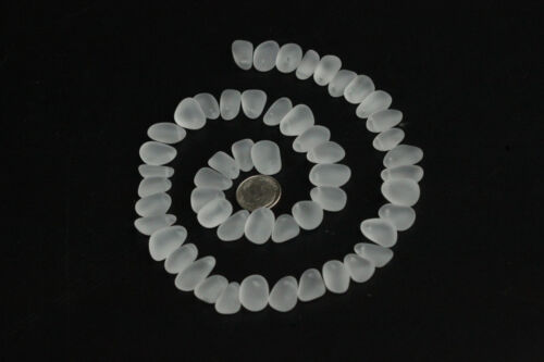 top drilled sea beach glass 10 pcs lot white clear pendant jewelry use