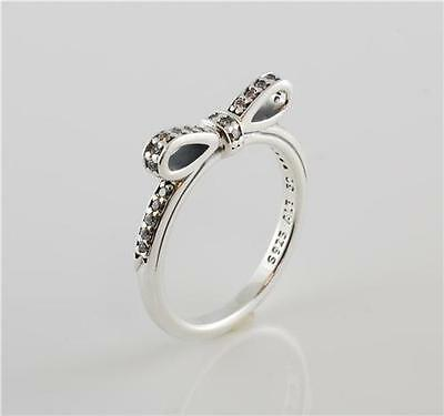Authentic Genuine New Pandora Sterling Silver Clear Cz Bow Ring 190906CZ-52