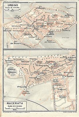 Cartina Geografica Costa Adriatica Marche.Carta Geografica Antica Urbino Macerata Piante Marche Tci 1924 Antique Map Ebay