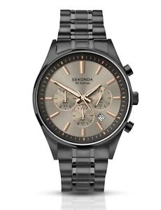 Sekonda-Mens-Gun-Metal-Chronograph-Watch-Stainless-Steel-Bracelet-1228
