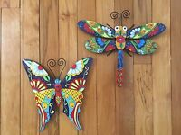 Colorful Dragonfly Metal Outdoor Wall Decor Butterfly Floral Garden Indoor Art
