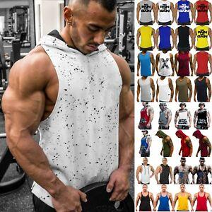 Men-039-s-Gym-Tank-Top-Bodybuilding-Fitness-Hoodie-Stringer-Muscle-Vest-T-Shirt-Tops